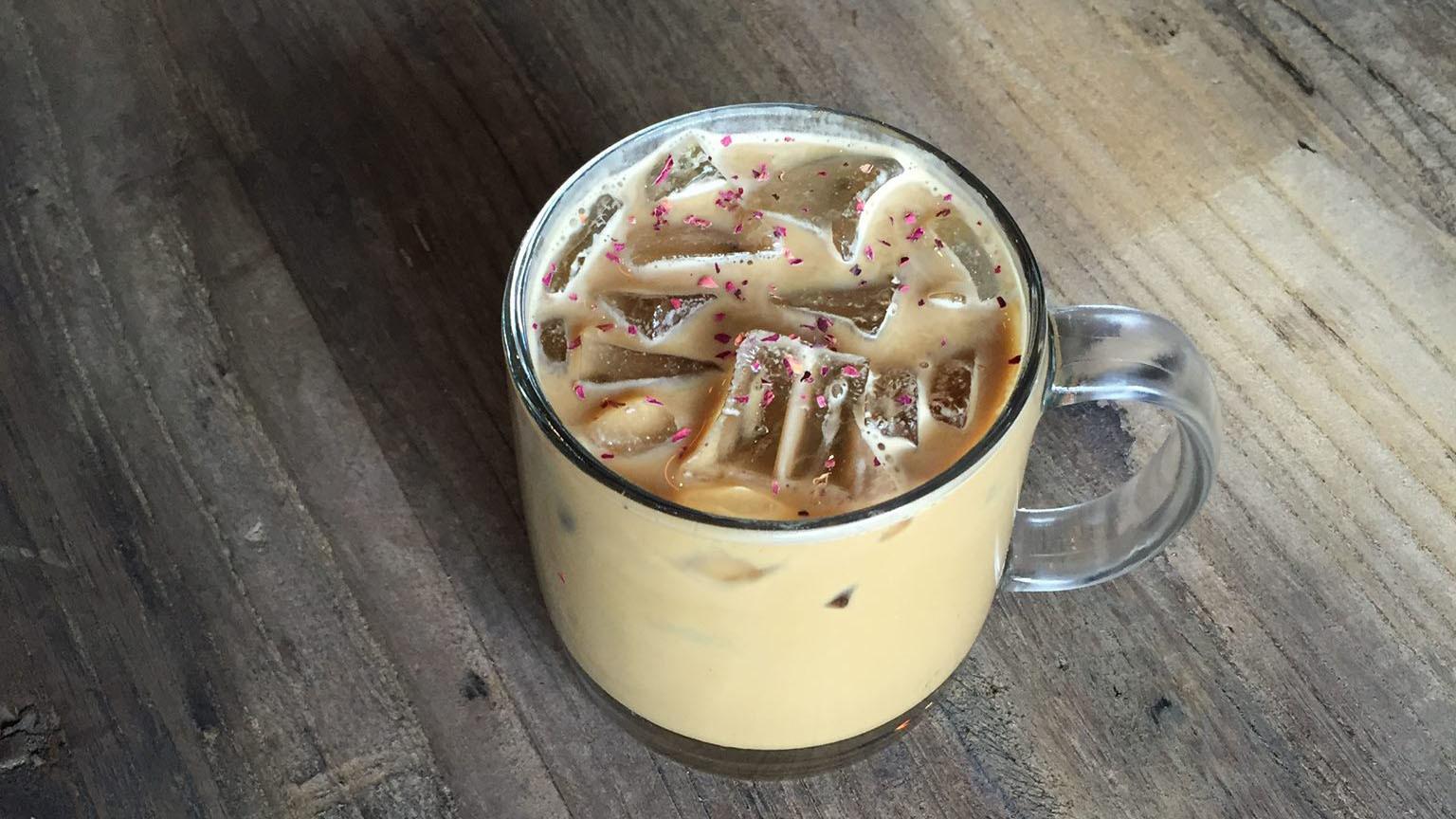 Pistachio rose latte at Oromo Cafe