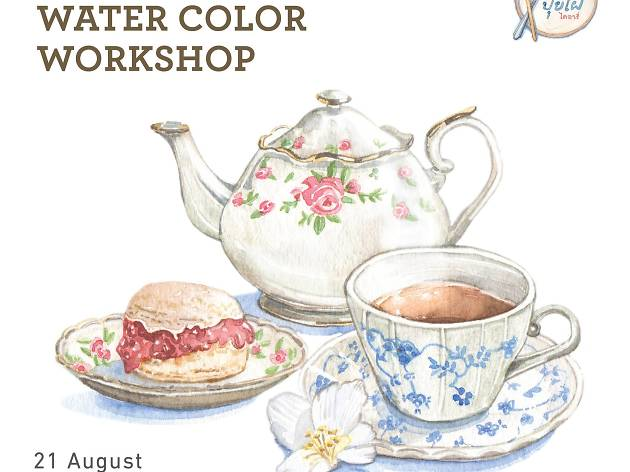 High tea watercolor workshop