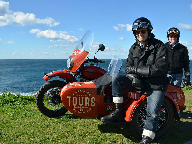 Marc Jaackson and Dom from Shelby's Sidecar Tours at Long Reef Point