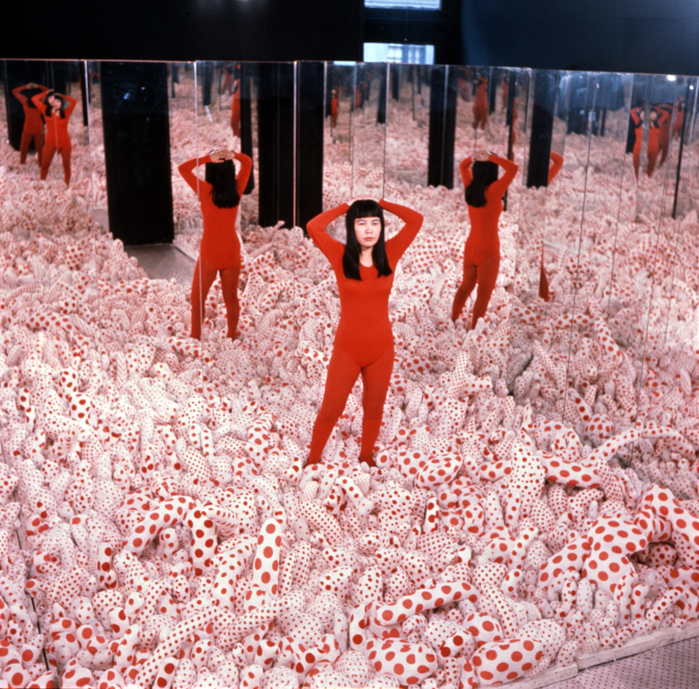 The roughly chronological exhibit will begin with Infinity Mirror Room    Phalli s Field  1965 2016  a field full of hundreds of red spotted phallic  tubers. There s an entire Infinity Mirror Room exhibition coming to the Broad