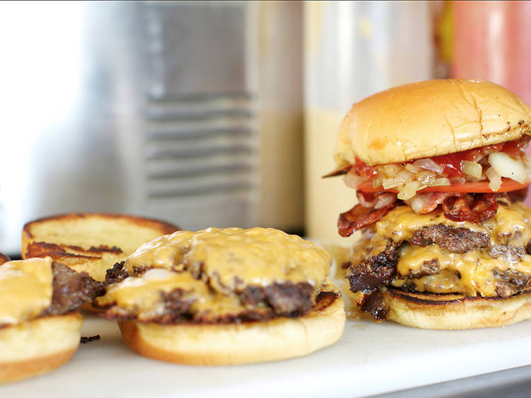 Burger at Hard Times Sundaes