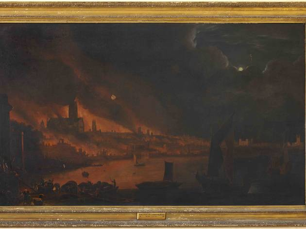 (Fire of London. Dutch school. By kind permission of The Society of Antiquaries of London (pre conservation))