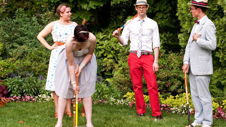Croquet game in garden
