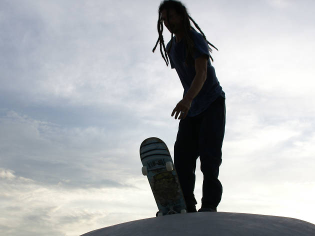 A skater on the edge of the bowl section of the Round Rock Skatepark at the grand opening on July 20, 2007.