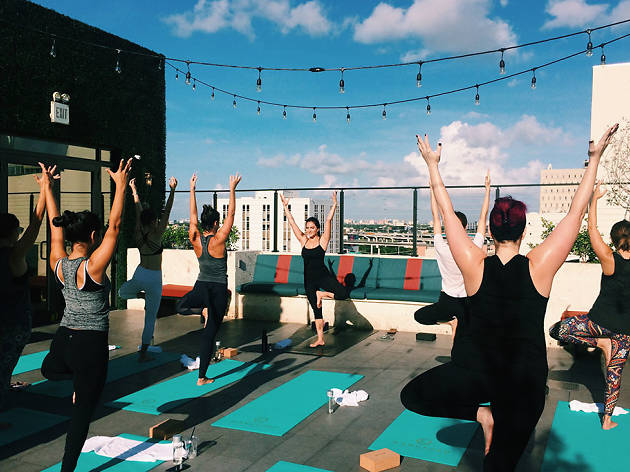 Rooftop yoga at The Langford