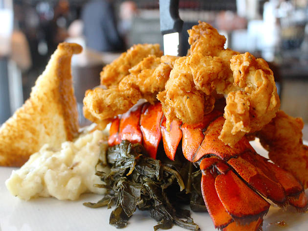 Chicken-fried lobster tail at Max's Wine Dive in Houston, TX