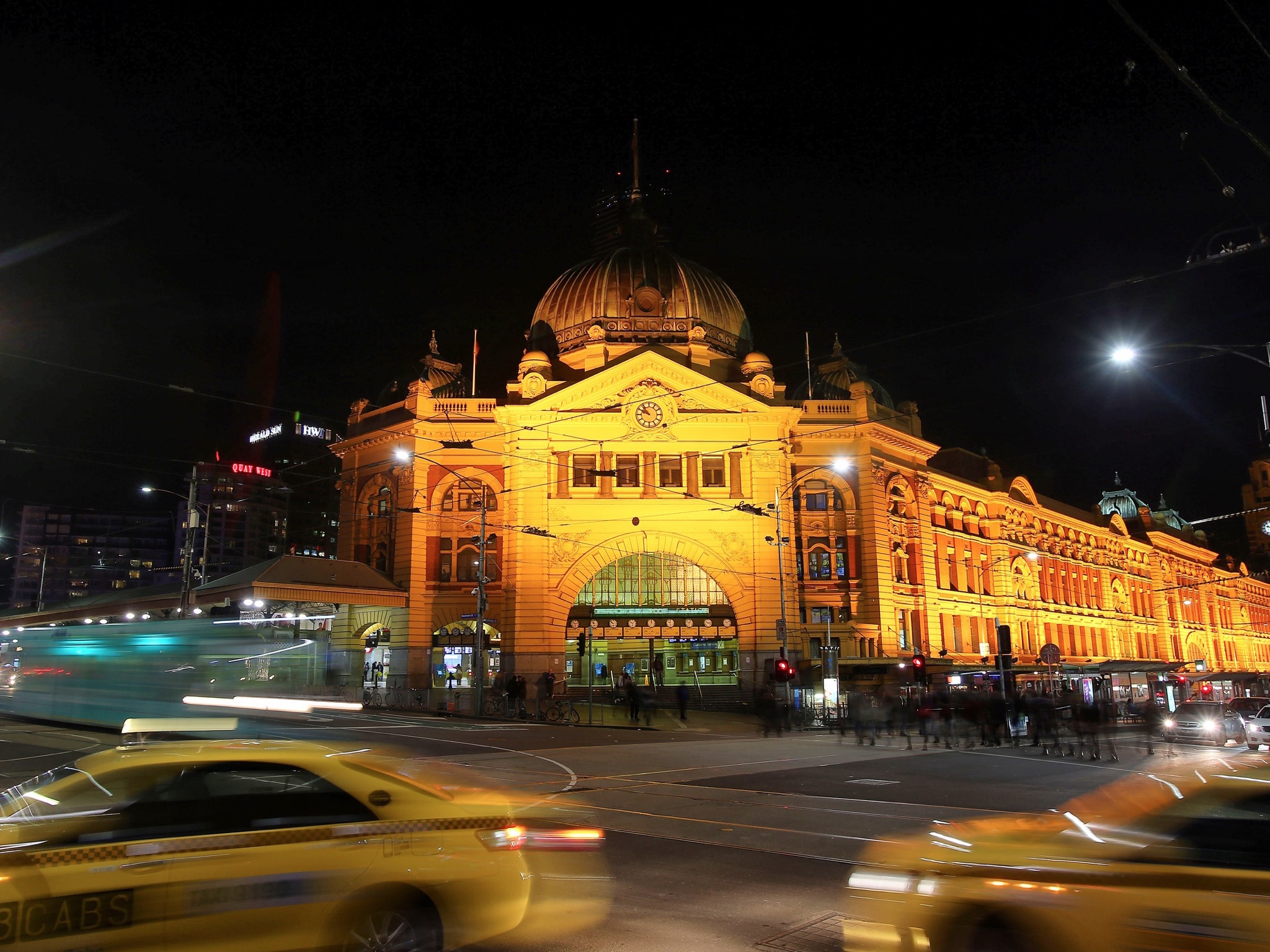 Flinders Street Station at night