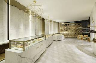 Marble interior of high-end patisserie