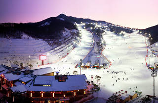 Ski run in Korea nighttime