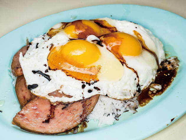 Spam and egg rice with drink ($35)