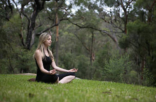 Woman meditating in the forest