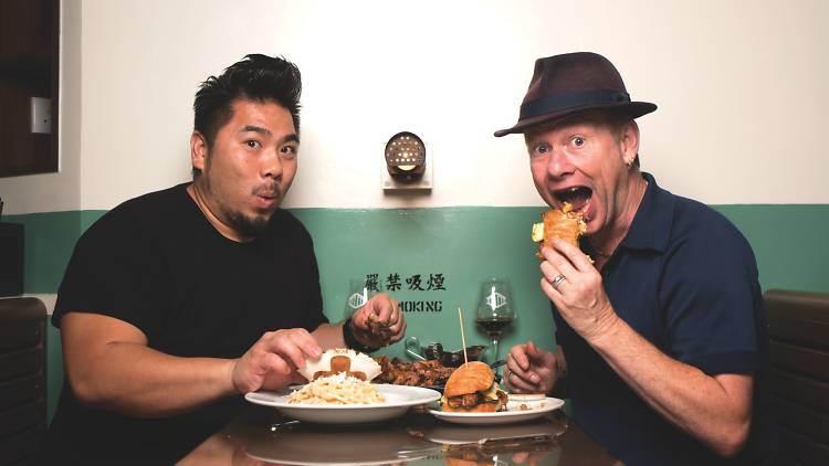 Christian Yang and Ian Wright eating at Second Draft