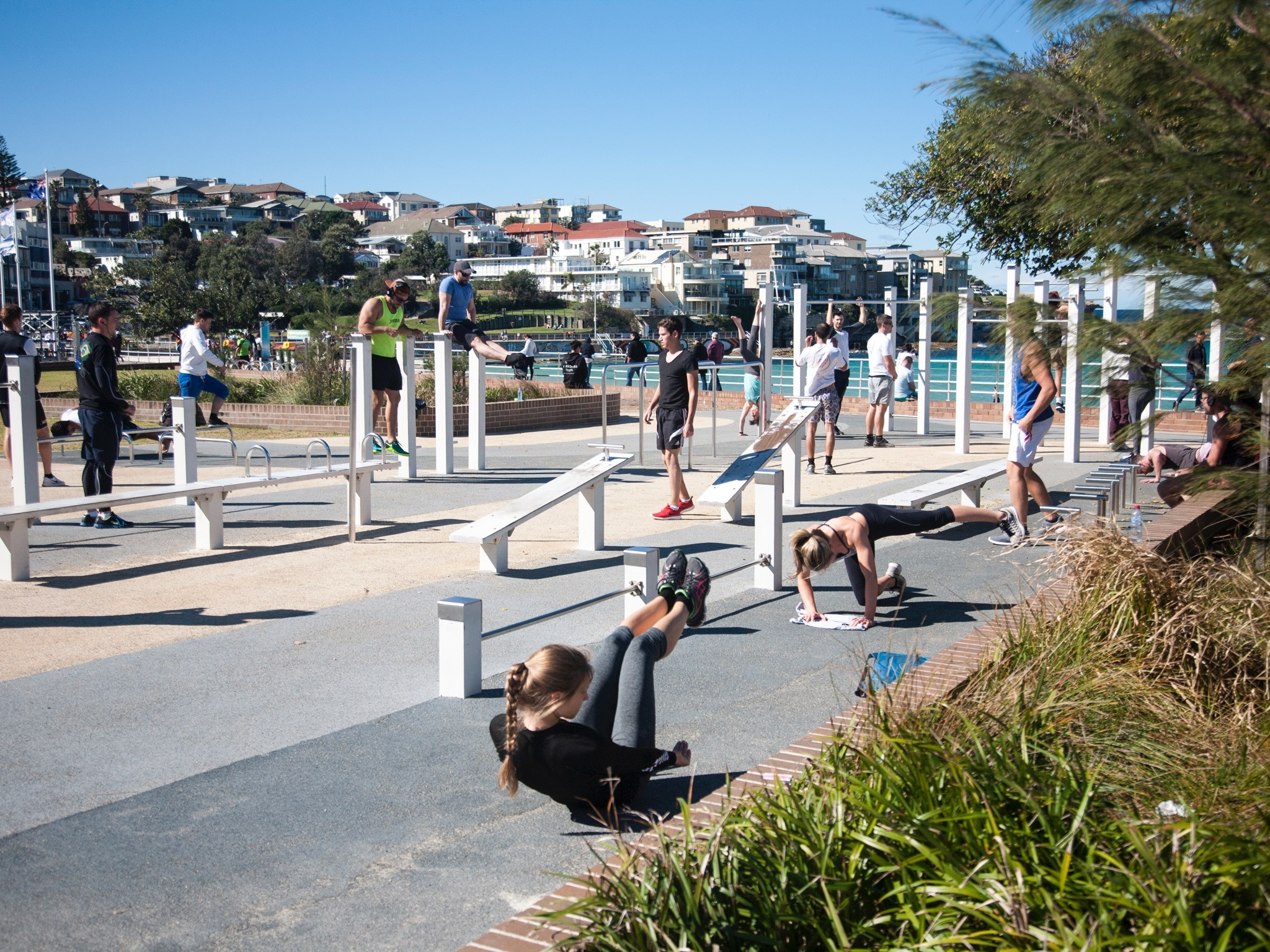 Fitness people at Bondi Beach Outdoor Gym