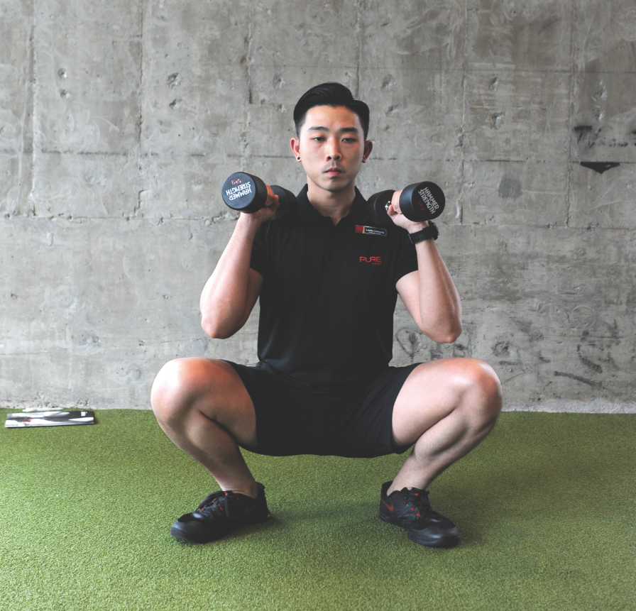 Thrusters with dumbbells (20 reps)