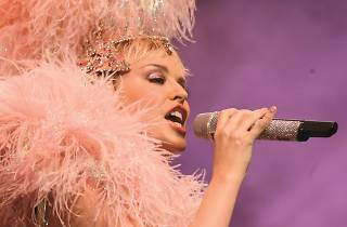 Kylie on Stage feathers Showgirl tour