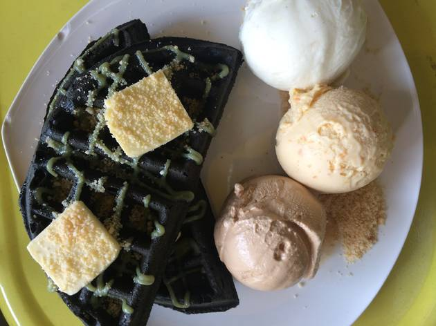 Kaya butter waffle at Inside Scoop