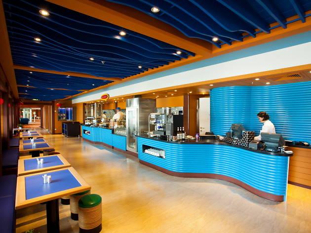 Blue buffet area