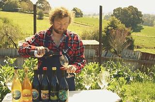 A man pouring wine in a garden