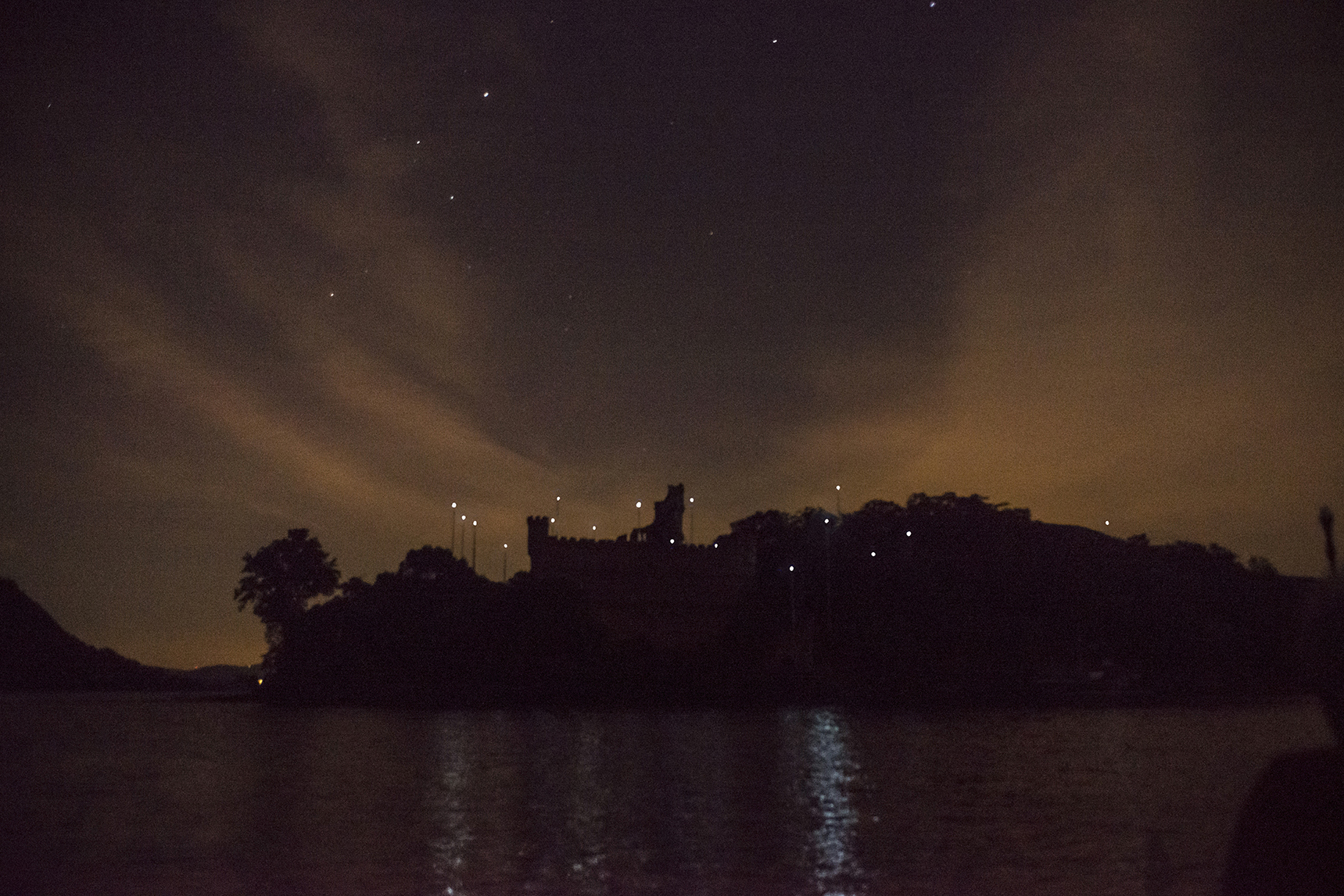 Lights fantastic transform crumbling castle on a Hudson River island