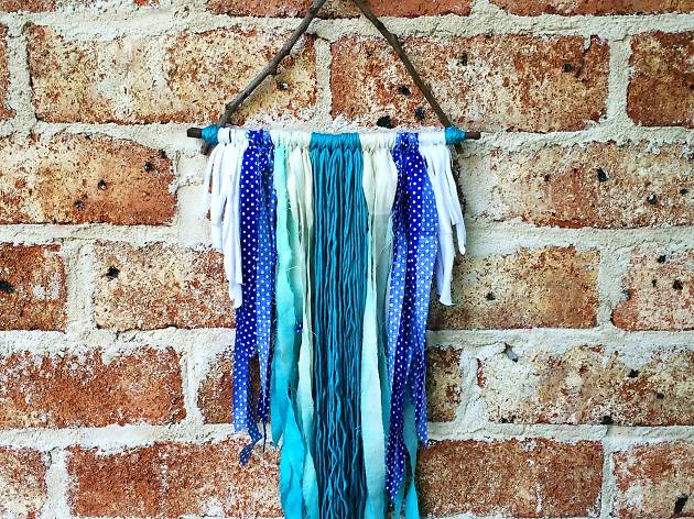 Wall hanging in blue, white and aqua