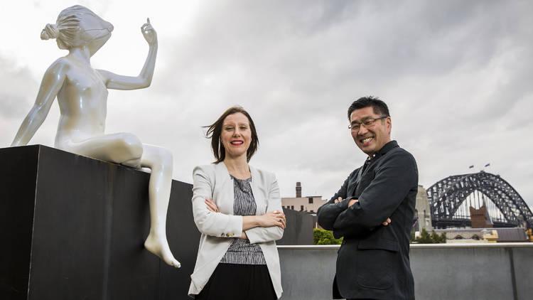 Tatsuo Miyajima Connect with Everything 2016 Museum of Contemporary Art Australia promo image feat curator Rachel Kent and Tatsuo Miyajima © MCA Australia photographer credit Anna Kucera