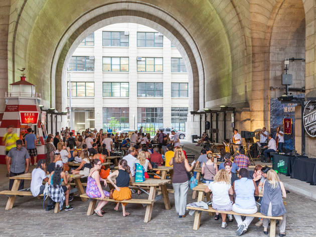 A giant Oktoberfest celebration is happening under the Manhattan bridge