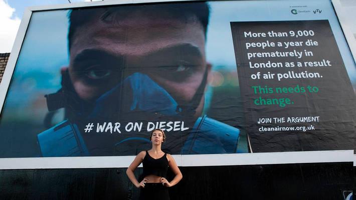 Vasilisa Forbes and #warondiesel Clean Air Now billboard