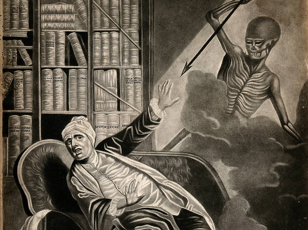 A gouty man startled by death