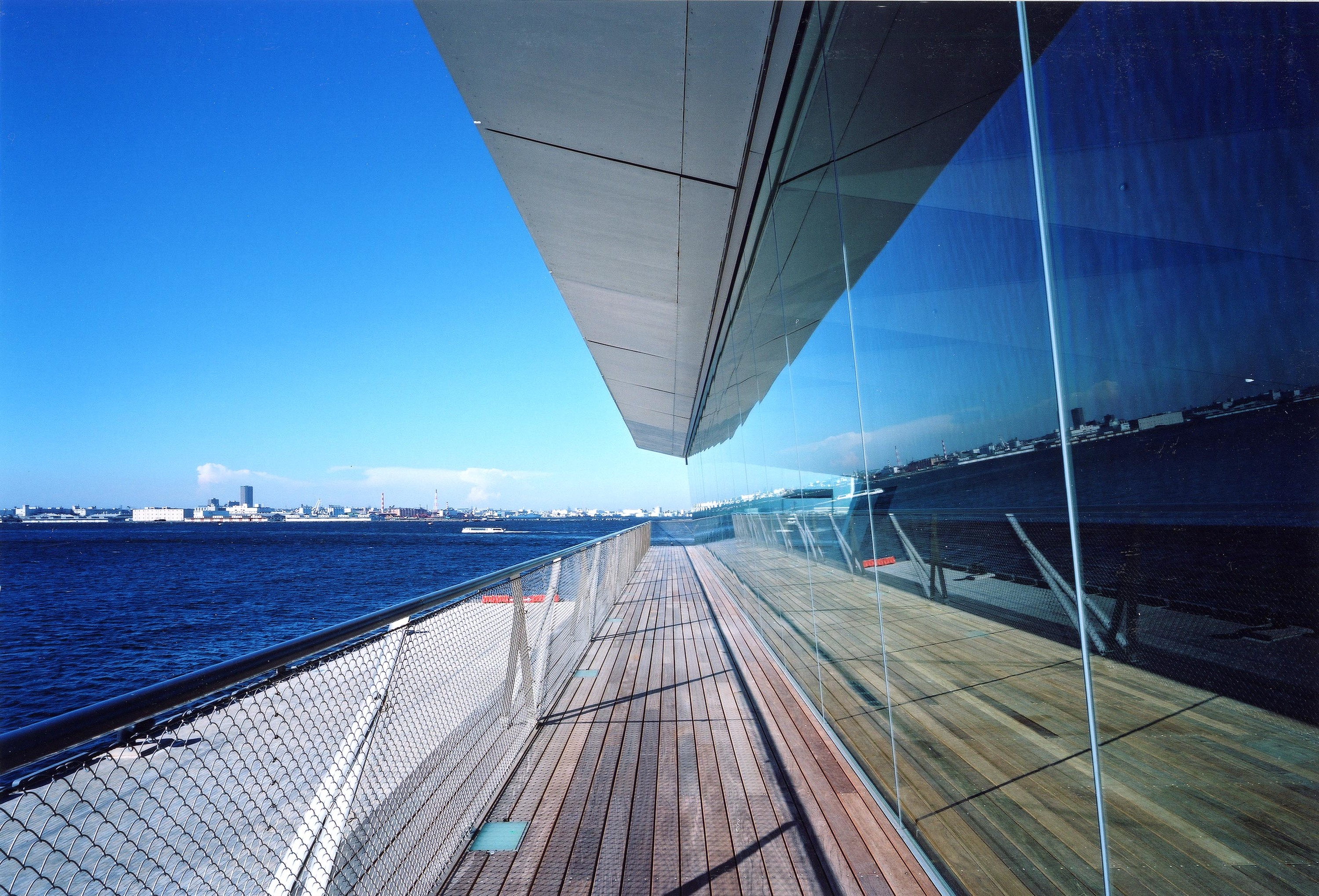 Gaze out from a ship-deck rooftop…