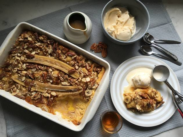 Bananas Foster Bread Pudding with Jack Daniel's