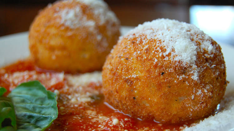 Arancini balls with tomato relish