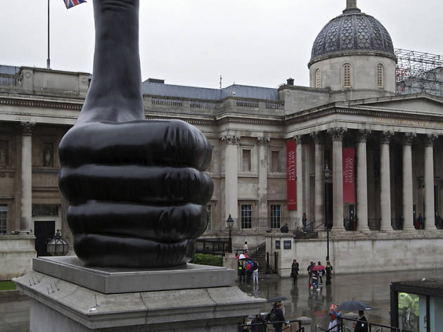 A giant thumb has landed on the Fourth Plinth