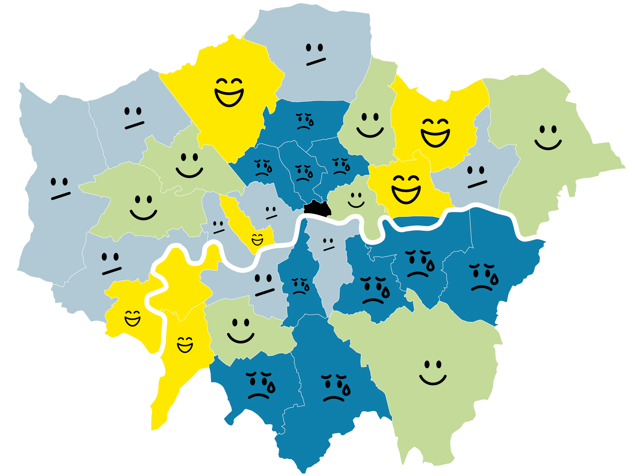 Map Of London Boroughs This map shows London's happiest and saddest boroughs