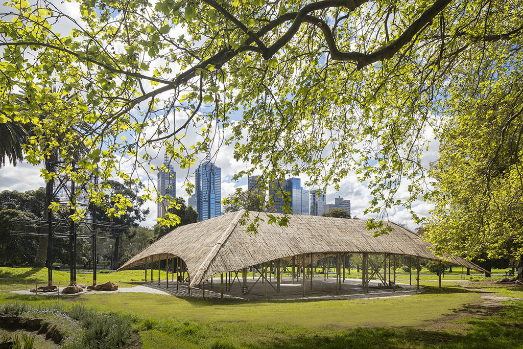 MPavilion 2016 Bijoy Jain installation view 01 feat Melbourne landscape image courtesy Naomi Milgrom Foundation photographer credit John Gollings