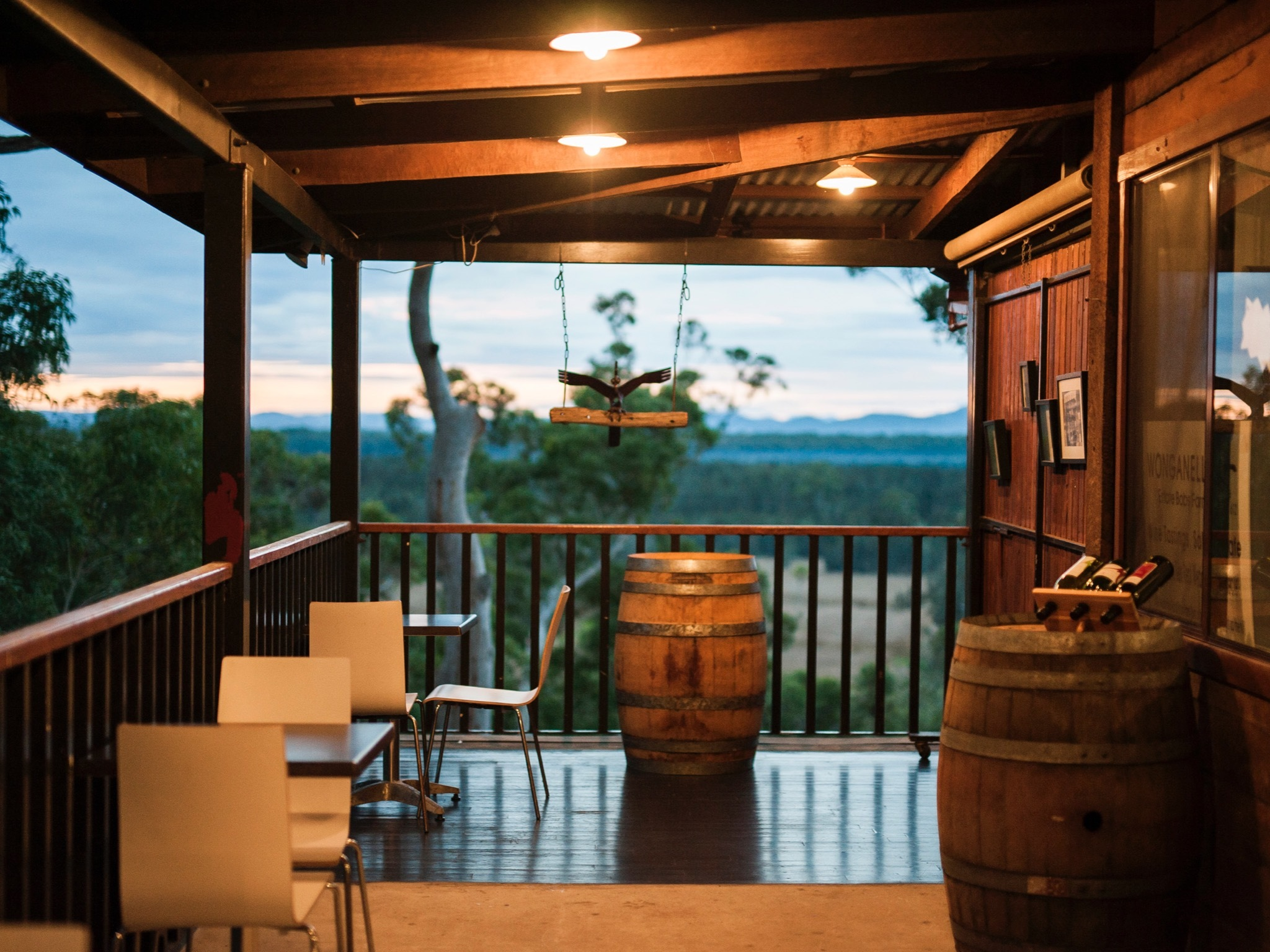 Photograph of terrace outside Wonganella Winery Cellar Door