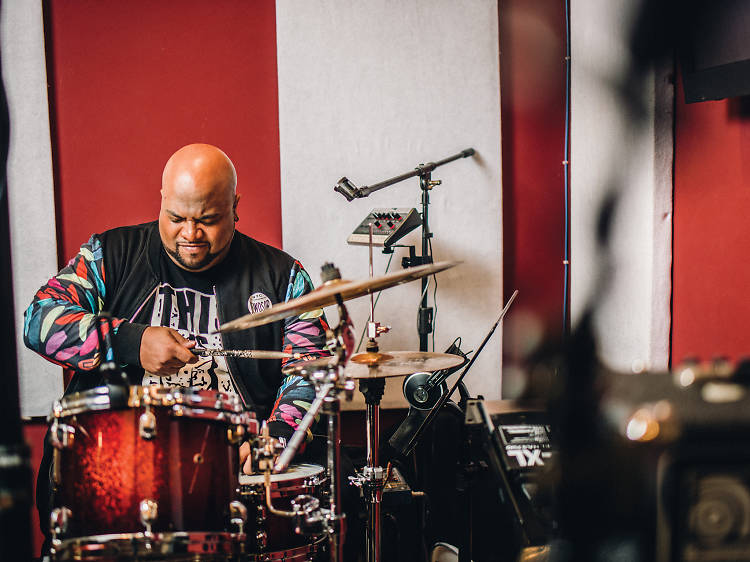 Session musician. Founder and drummer, Azucar Latina