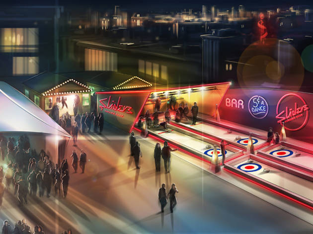 Forget bowling, you can now go curling on a rooftop in east London