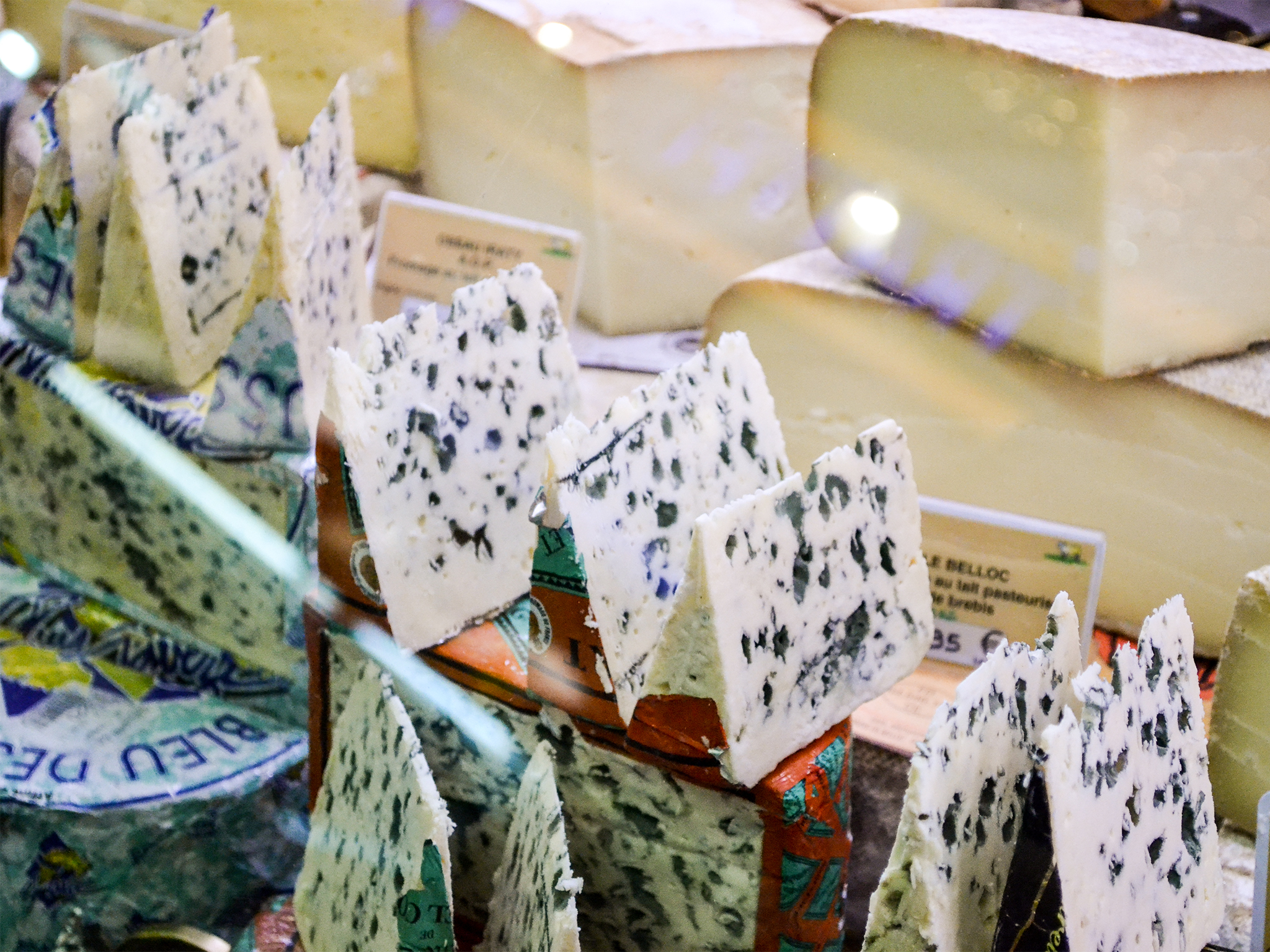 Slices of Roquefort cheese