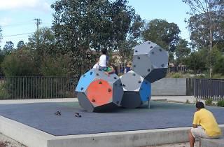 A series of three large hexagonal climbing prisims in Blacktown Showgrounds Precinct