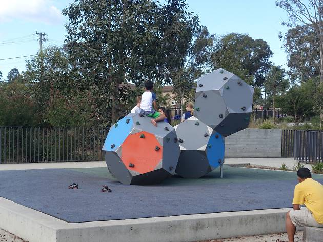 A series of three large hexagonal climbing prisims in Blacktown Showgrounds Precinct