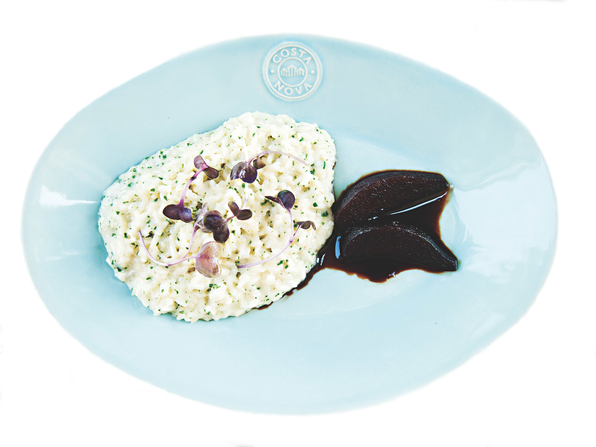 Risotto de Gorgonzola com pêra rocha em porto balsâmico Do Less