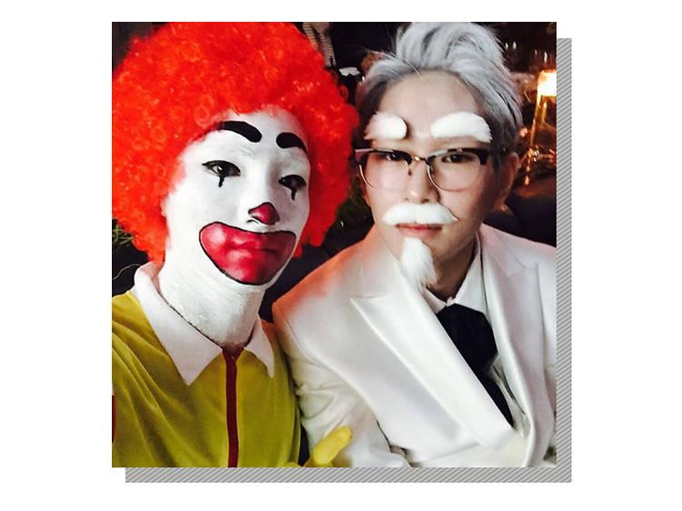 각각 맥도날드와 KFC 캐릭터로 분장한 샤이니 키와 온유