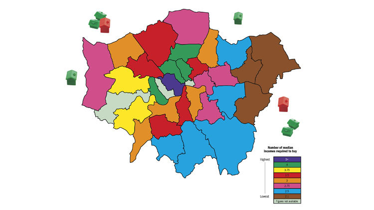 This map shows the ratio of house prices to salaries in London