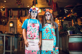 Two women in Day of the Dead make-up