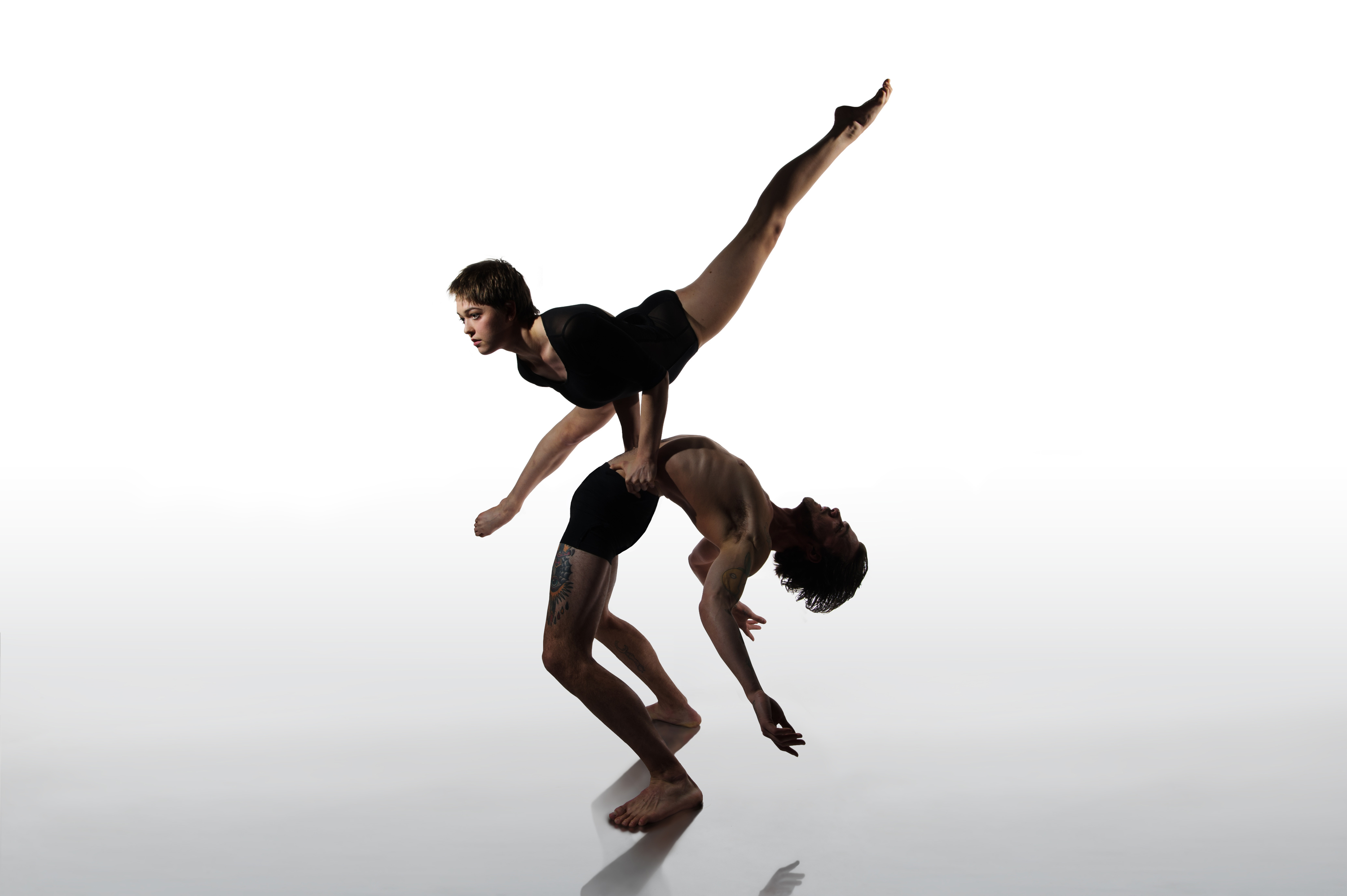 Two acrobats in performance