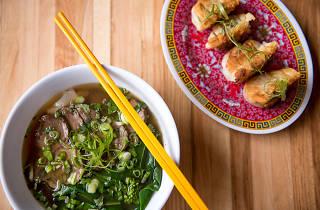Ho Fun Beef Noodle Soup and Pan Fried Shrimp and Pork Dumplings