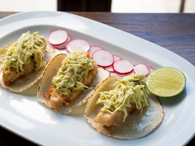 <p>Fried fish tacos at Guadalupe Inn</p>