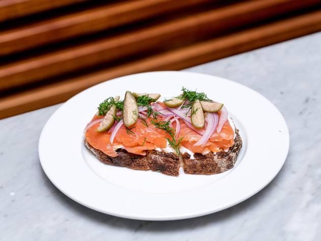 <p>Smoked salmon sandwich at Cafe Americano</p>