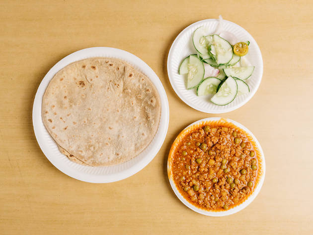 Chapati with mutton keema, $5.20