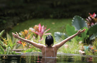 A woman stretches out her hands in a pool of water surrounded by greenery at Jindii Eco Spa